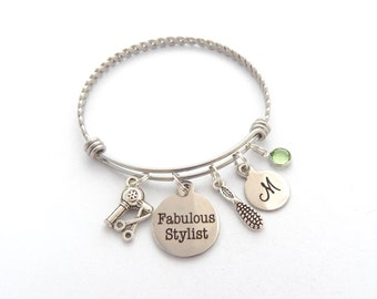 Personalized Hairstylist Bracelet, Gifts for Hairdresser Hairdresser Jewelry, Fabulous Stylist, Hair Stylist, Cosmetology Graduate Gift,