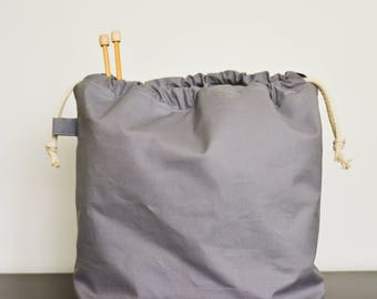 knitting project drawstring bag - large - stone grey