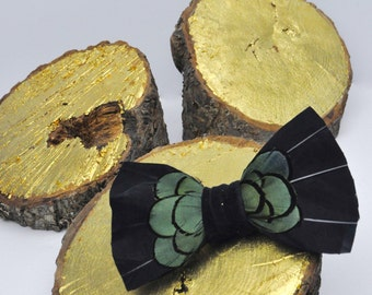 Black and Iridescent Green Feather Bow Tie