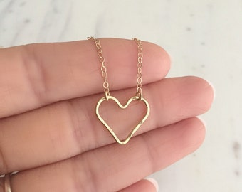 Gold Heart Necklace | 14k Gold Filled Necklace | Open Heart Necklace | Hammered Heart Necklace | Valentines Day Gift | Layering Necklace