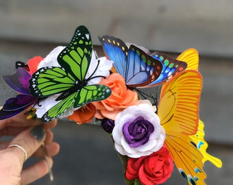Butterfly Fairy Crown - Flower Crown - Festival Wear - Flower Headband - Butterfly headband - Fairy Crown. READY TO SHIP.