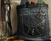 GROWLER Caddy, Beer Caddy, Six Pack Carrier, Beer Tote, 6 Pack Carrier, BLACK DENIM and Leather Beer Bag, Upcycled Recycled Repurposed