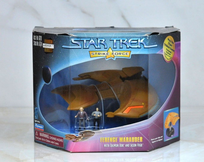 Vintage Star Trek Strike Force Ferengi Marauder Daimon Box And Jason Vigo Figures, Next Generation, Starship, Warship, Ferenginar, Aliens