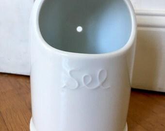 Salt cellar. French white porcelain salt box