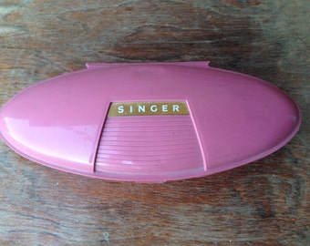 Adorable Vintage 1960s Singer Buttonholer with Pink Plastic Atomic Age Case
