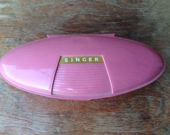 Adorable Vintage 1960s Singer Buttonholer with Pink Plastic Atomic Age Case