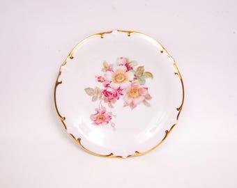 Vintage Schumann Arzberg Bavarian Wild Rose Plate Golden Crown Germany German Platter Wedding Gift