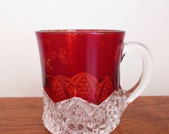 Ruby Red Flashed Button Arches Glass by Duncan and Miller Crystal and Red Little Handled Cup Dated 1906