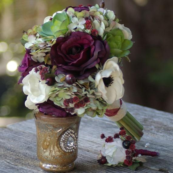 Silk Wedding Bouquet And Boutonniere Plum Wine Sangria