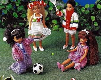 """Fun In The Sun for 7 1/2"""" fashion Doll Crochet Pattern Annies Fashion Doll Crochet Club FCC24-02"""