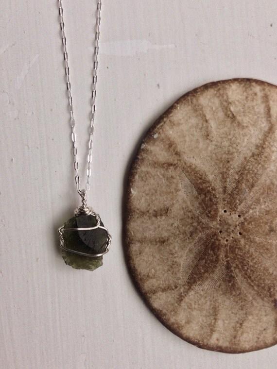 Moldavite Sterling Silver Necklace - Organic, Ecofriendly Jewellry -Magic, Vegan
