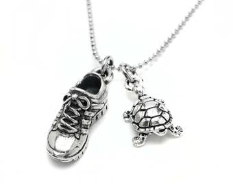 But I Run Motivational Necklace - Running Necklace - Motivation - Nickel Free Fitness Jewelry - Marathon Necklace - Gym Necklace - Turtle