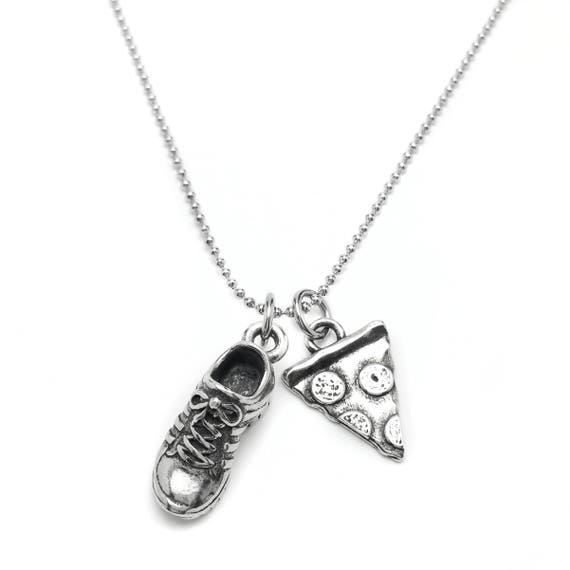 Will Run for Pizza Sneaker Necklace - Runners Jewelry - Motivational - Nickel Free Fitness Jewelry - Running Shoe - Workout Accessories