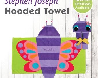 Butterfly Hooded Towel, Stephen Joseph Hooded Towel, Kids Beach Towel, Hooded Bath Towel, Toddler Hooded Towel, Hooded Towel for Kids