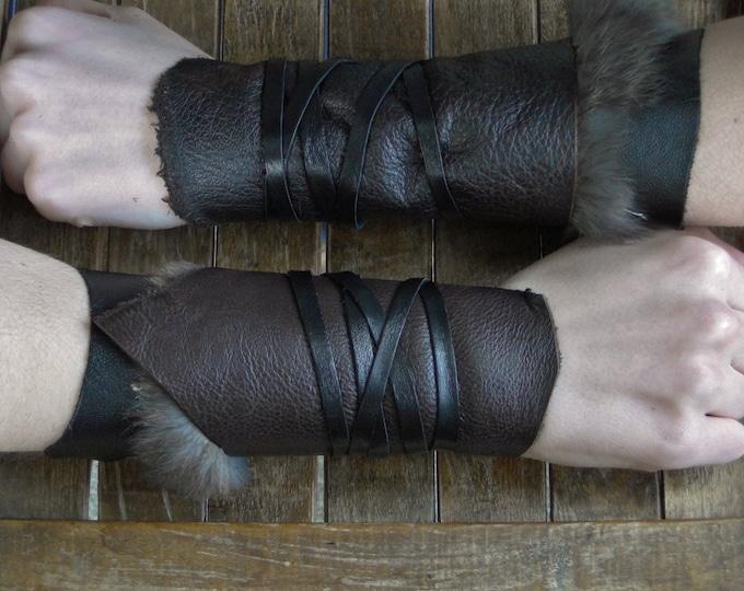 Leather Cuffs - Warrior Viking Tribal Larp Costume Cosplay - Pair #14b