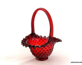 Fenton 3837 Ruby Hobnail Glass Basket - Vintage 1970s Fenton Glass