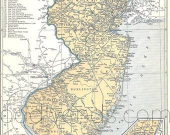 1939 New Jersey Vintage Atlas Map