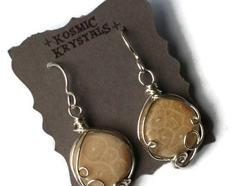 Large Fossilized Coral Earrings / Natural Agatized Fossil Coral / Sterling Silver Wire Work / Ancient Ocean Collection
