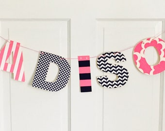FABRIC NAME BANNER Bunting You Pick Fabric Personalized