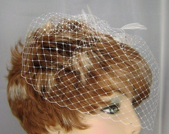 Wedding Birdcage Veil with Crystals, Small Bridal Veil, Russian Veiling, Bird Cage Veil, REX1003