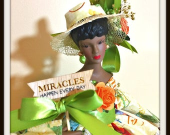 Black Art Doll, African American Inspirational Porcelain Doll, Handmade OOAK Home Decor Accent