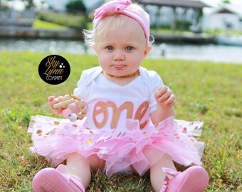 Pink Gold Glitter One First Birthday Outfit Embroidered Applique Shirt or Bodysuit & Tutu
