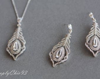 Peacock Silver Jewelry Set, Micro Paved Zircon jewelry,Wedding Bridal Necklace and Earrings Set,Crystal Earrings,Feather Pendant Necklace.