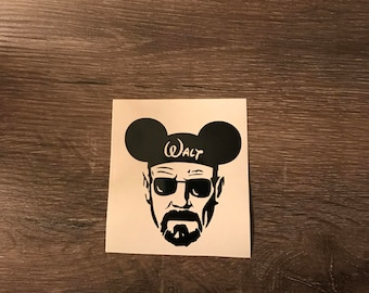 Walt Breaking Bad with Mickey Mouse Ears Vinyl Decal, Yeti Decal, Laptop Decal, Cell Phone Sticker, Car Decal