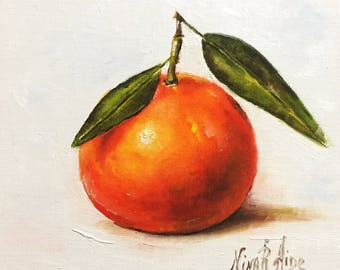 Clementine Original Oil Painting Nina R.Aide 6x6 canvas Fine Art Gallery Kitchen Art Small Painting Daily