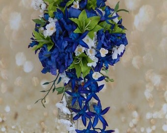 Cascade Wedding Bouquet- Blue and Green Tropical Wedding Bouquet- Orchid Bridal Bouquet- Customized To Your Wedding Colors- SOLD