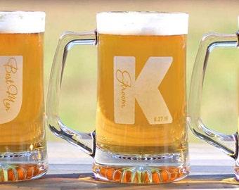 Groomsmen Gifts 25oz Beer Mugs Custom Personalized Best Man Groomsman Beer Mugs  - ANY QUANTITY
