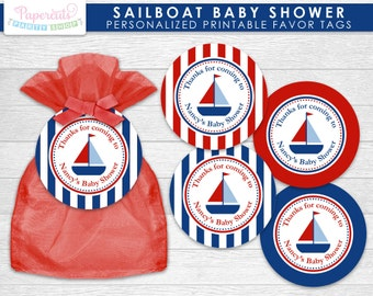 Sailboat Nautical Theme Baby Shower Favor Tags | Blue & Red | Personalized | Printable DIY Digital File