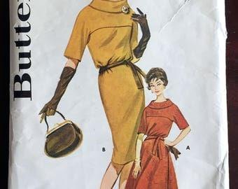 """1960's Butterick One-Piece Mod Cowl Collar Dress Pattern - Bust 34"""" - No. 9926"""