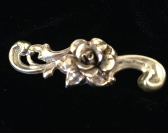 Vintage Sterling Silver Victorian Style BROOCH Rose Blossom