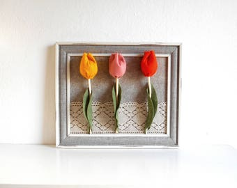 3d flower wall art home decor with tulips and lace fabric flower framed decor