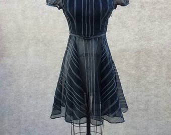 Black sheer vintage dress 50s