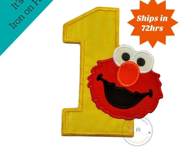 Canary yellow birthday number one with red puppet iron on applique, First birthday yellow number 1 iron on embroidered patch, ready to ship