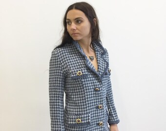 Vintage 80s Blue Houndstooth Blazer - Oversized Gold Buttons- Fully lined - Light and Dark Blue - Size Small S