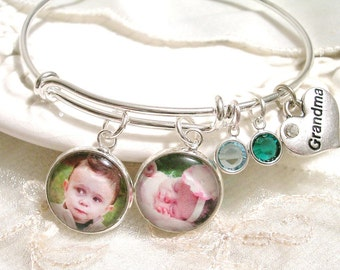 Photo Bracelet Grandmom Gift Custom Photo Charms Picture Charm Jewelry Gift for Mother Birthstone Bracelet Gift for Wife Photo Gift for Mom