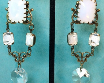 Shoulder Duster Earrings /White Opal Cabs/Vintage White Givre Octagons/Vintage Chandelier Drops/White Opal Bell Brass Ox/Filigree