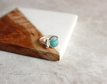 Turquoise Ring, Carico Lake Turquoise, Sterling Silver Ring Size 6 US