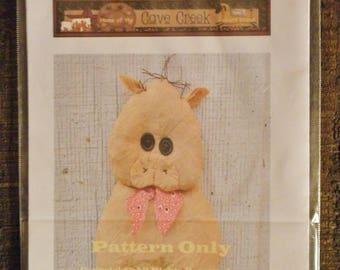 Primitive Pig Flattie Printed Pattern, Animal Patterns, Printed Craft Patterns