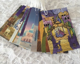 SALE - Nativity Gift Tags, Christmas Tags, Mary Joseph and Baby Jesus, Bethlehem Manger Scene - Set of 15
