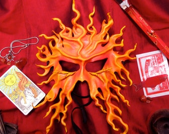 Sun Mask, Leather Solar Mask, Fire Mask, Summer Festival Mask