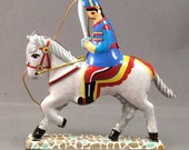 VTG Tin Soldier with Sword on Horseback Shylling Tin Toy Ornament 1995 NOS German Made Lithographed Tin Christmas Ornament in Box