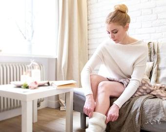 Wool leg warmers ivory - knit leg warmers - felted organic wool leggings - knit accessories womens