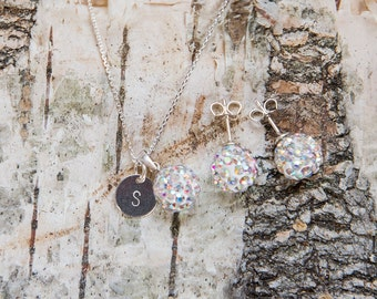 Sterling silver monogram pave jewelry set with Swarovski crystal balls, many colors, crystal, pink, red, green, necklace, stud earrings