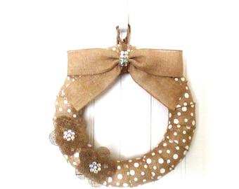 White Polka Dot Burlap Wreath - Everyday Wreath - Burlap Wreath - Burlap Wreath with Burlap Flowers