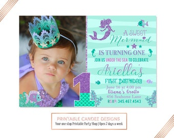 Mermaid First Birthday Invitation, Mermaid Invite, Under The Sea Party, Teal Purple Mermaid Invitation, Adorable Mermaid Birthday