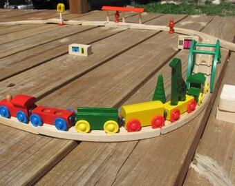 Vintage Wood Train Track Set